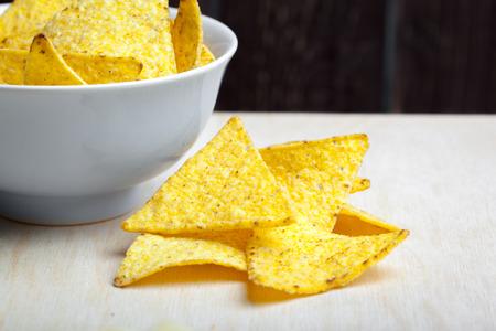 Nachos chips. Delicious salty tortilla snack