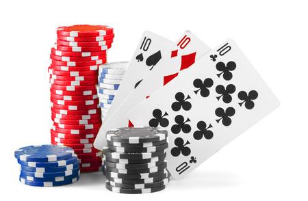Casino chips isolated on white background Stock Photo