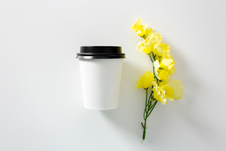 Cup of coffee on white. Branding element