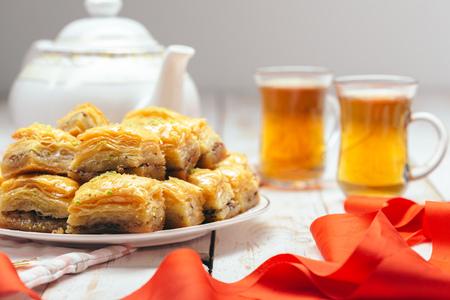 baklava: traditional eastern desserts on wooden background