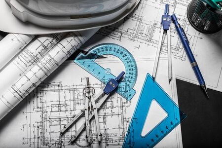 architect: Construction planning drawings on black background