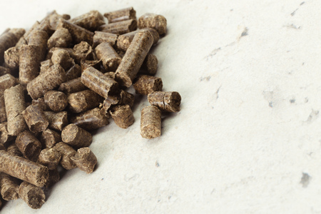 Energy. Pellets on the table Stock Photo