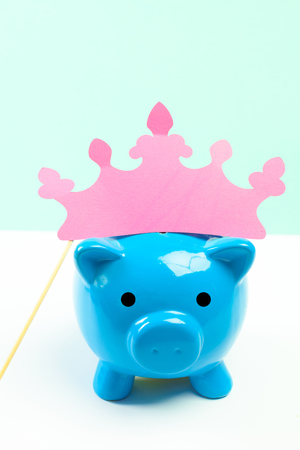 Blue piggy bank or money box