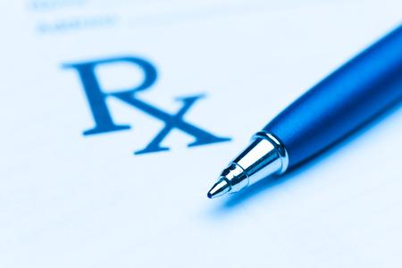 Empty medical prescription with a pen Stock Photo