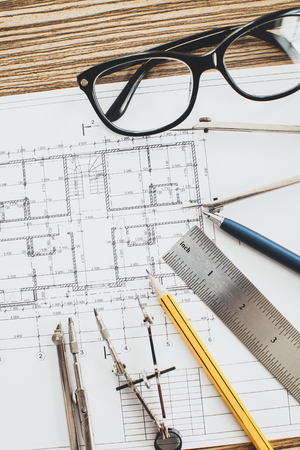 architect: Project drawings and tools, close up Stock Photo
