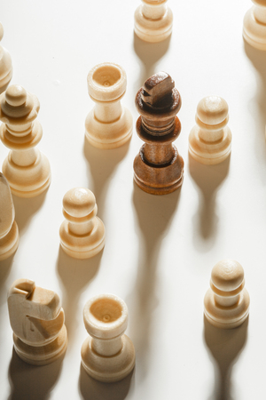 battle plan: Chess game or chess pieces on white background