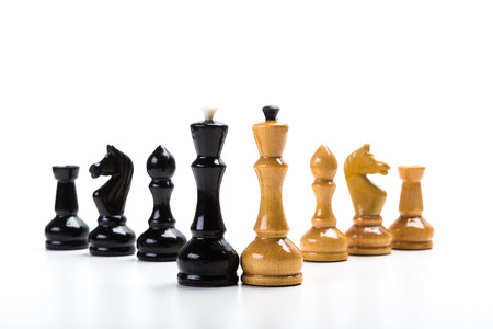 chess board: Chess game or chess pieces with white background Stock Photo