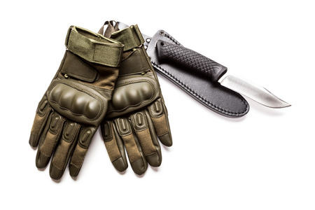 military knife in pocket isolated white Stock Photo