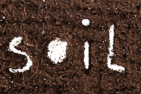 word soil made up with letters on the ground Stock Photo