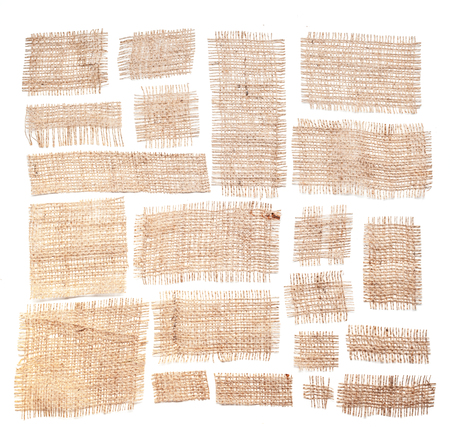 fabric textures: Sackcloth materials isolated on white