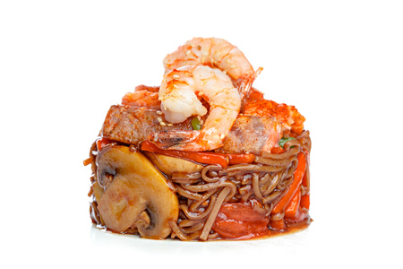 Chinese fast-food from wok. Stock Photo