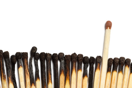 flammable: Matches isolated on white background. Closeup shot. Stock Photo