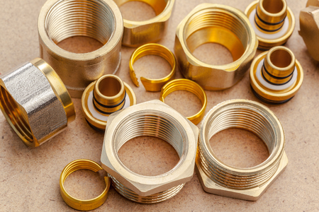 plastic pipe: Tools and materials for sanitary works Stock Photo