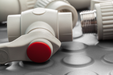 Tools and materials for sanitary works Stock Photo