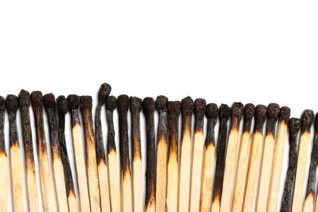 Matches isolated on white background. Closeup shot. Stock Photo