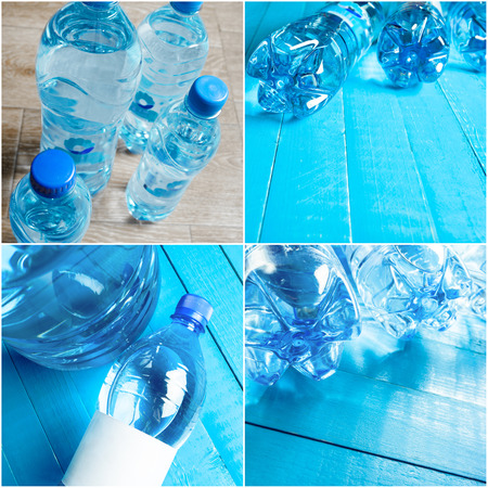 utilization: water bottle on the wooden table Stock Photo
