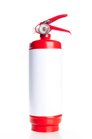 suppression: Red fire extinguisher isolated on white