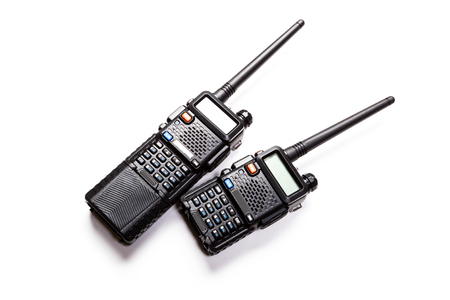 communications tools: Portable radio transmitter on a white background Stock Photo