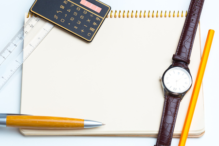 todo list: blank notepad for Todo list with pen and clock Stock Photo