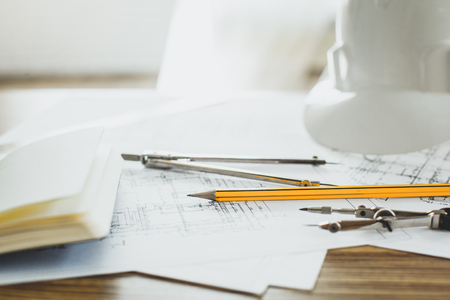 Project drawings and tools, close up Stock Photo