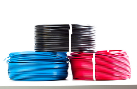 power cables: set colored electric cable on white background