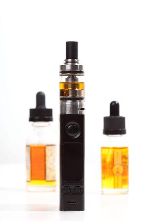 atomiser: The most modern electronic cigarette over white background. Vape. Vapor.