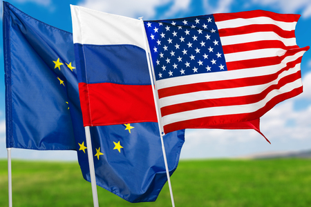 Russia, USA and EU flag Stock Photo