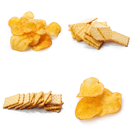 Collage of Crackers isolated