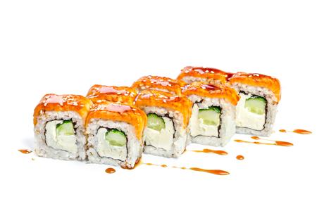 philadelphia: Sushi roll with fresh ingredients isolated on white background