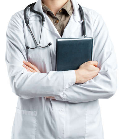 medical laboratory: Woman doctor with a stethoscope. Isolated on white.