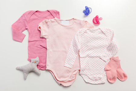 Set of clothing and items for a baby