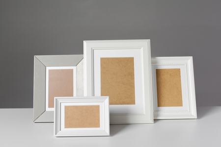 living room design: Blank photo frame on the table