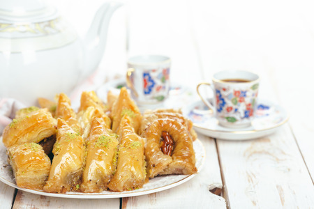 traditional eastern desserts on wooden background
