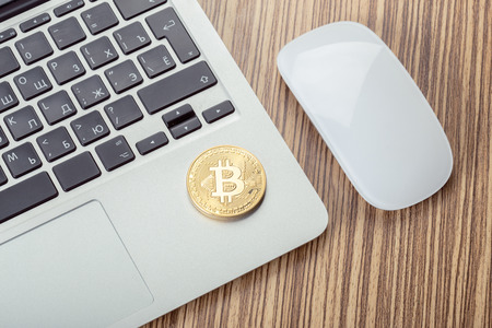 Golden Bitcoin Physical Coin Symbol On Keyboard Stock Photo Picture