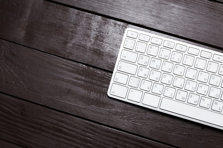 blank screen: Working place on wooden table Stock Photo
