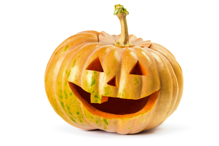 terrifying: Halloween pumpkins grin on white isolated background