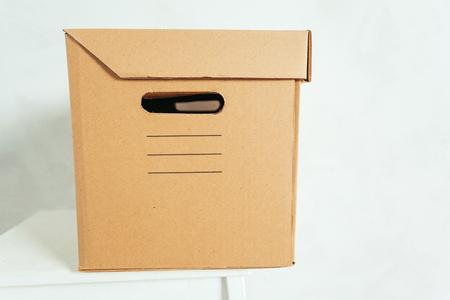 cardbox: Big cardboard boxes standing insinde a room Stock Photo