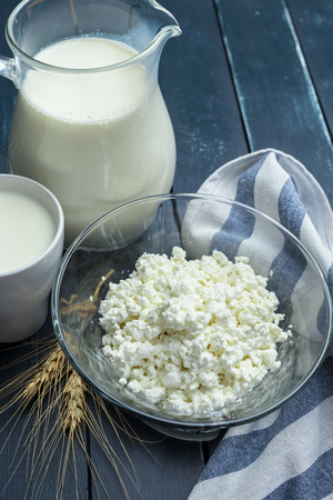 milk, cottage cheese - dairy products Stock Photo