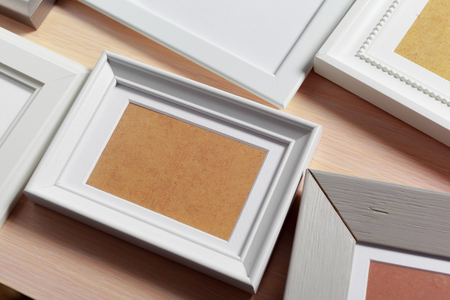 wood texture: Blank photo frame on the table