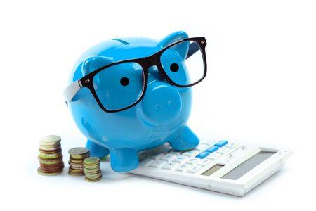 貯金箱ブルーまたは貯金箱