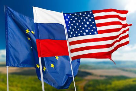 Russia, USA and EU flag Stock Photo