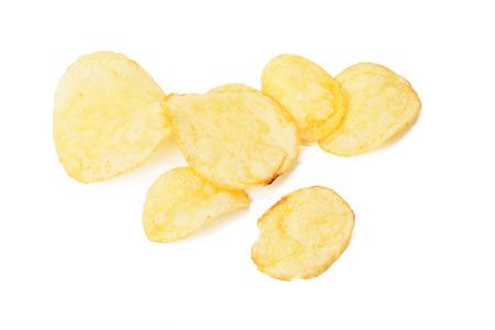 Potato chips isolated on white Stock Photo