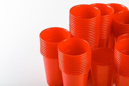 red disposable plastic glasses Stock Photo