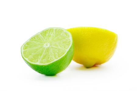 Fresh lime and lemon isolated on white background