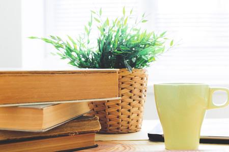 Books On Wooden Desk
