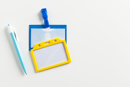 personal identification number: Name tag and a pen Stock Photo