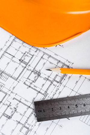 Architect worplace top view. Stock Photo