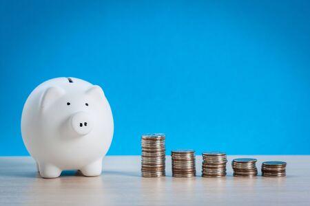 Piggy bank on blue background