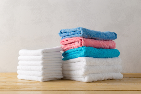 bath: spa towels on wooden surface