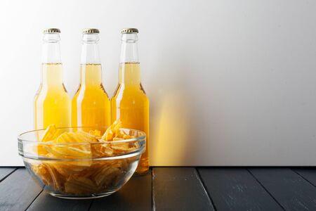drop water: Beer in bottle Stock Photo